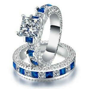 Princess Blue And White Sapphire Silver Ring Set